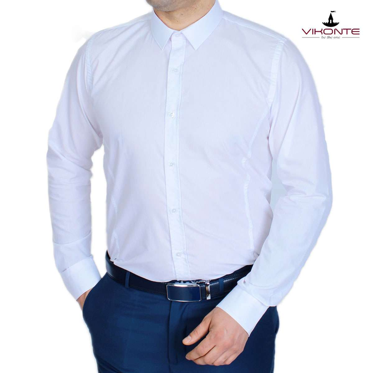 37537a4998e Бяла мъжка официална риза DL10061 - vikonte.eu